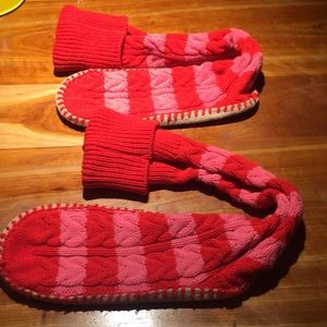 Long candy striped slippers